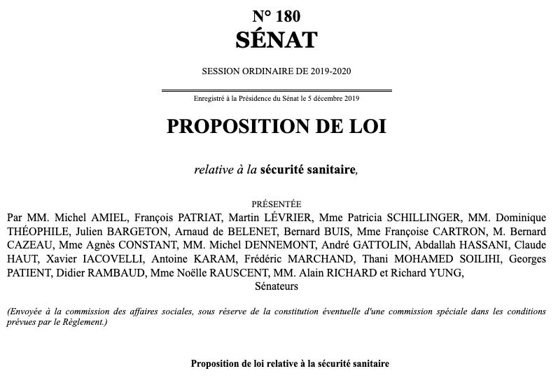 Proposition de Loi relative à la sécurité sanitaire