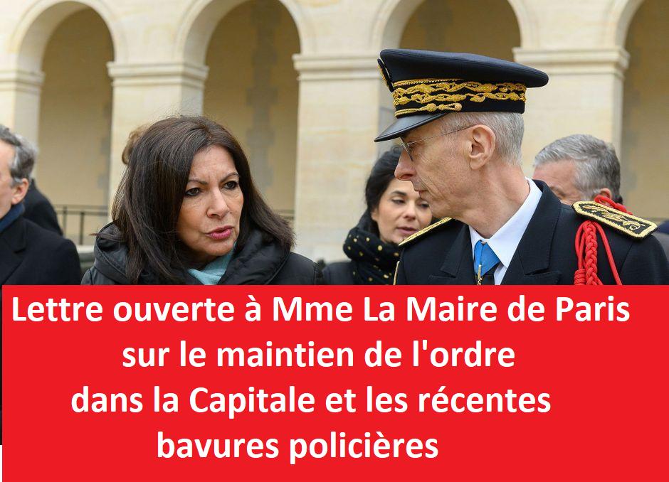 Lettre ouverte à Madame La Maire de Paris sur le maintien de l'ordre dans la capitale et les récentes bavures policières
