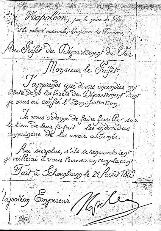 Napoleon au préfet du VAR