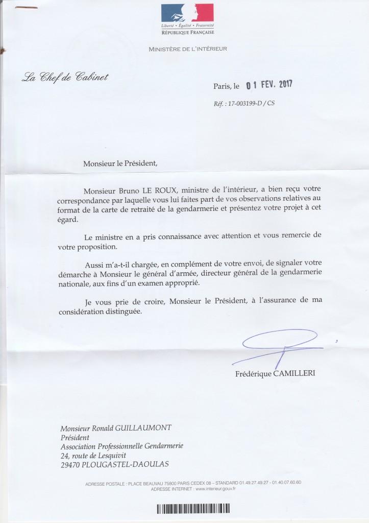 Lettre Ministère Intérieur