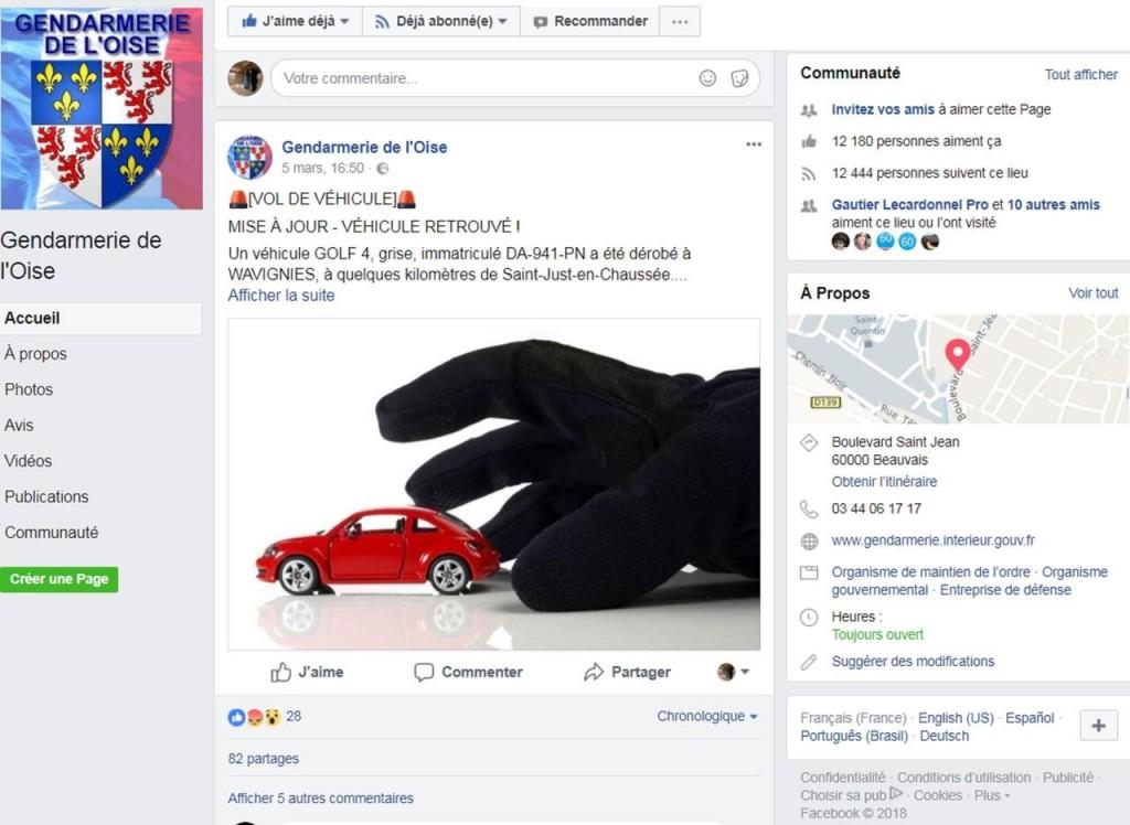 Oise capture d'écran Facebook vols de voiture gendarmerie