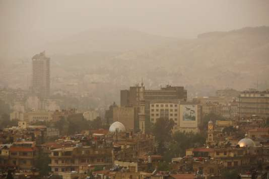 A general view of Damascus during sand storm and heavy rain
