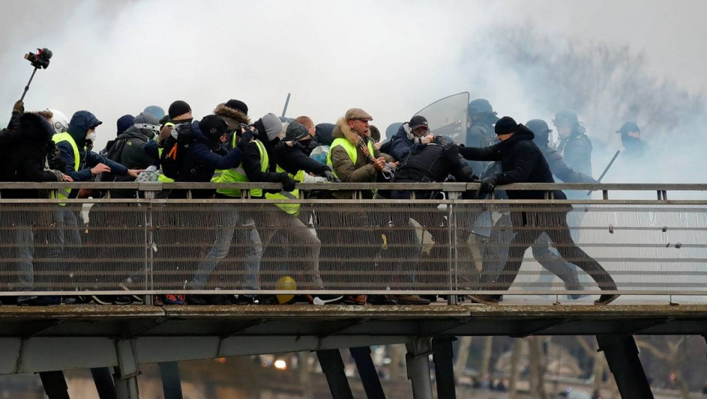 Former French boxing champion Dettinger seen during clashes with French Gendarmes in Paris