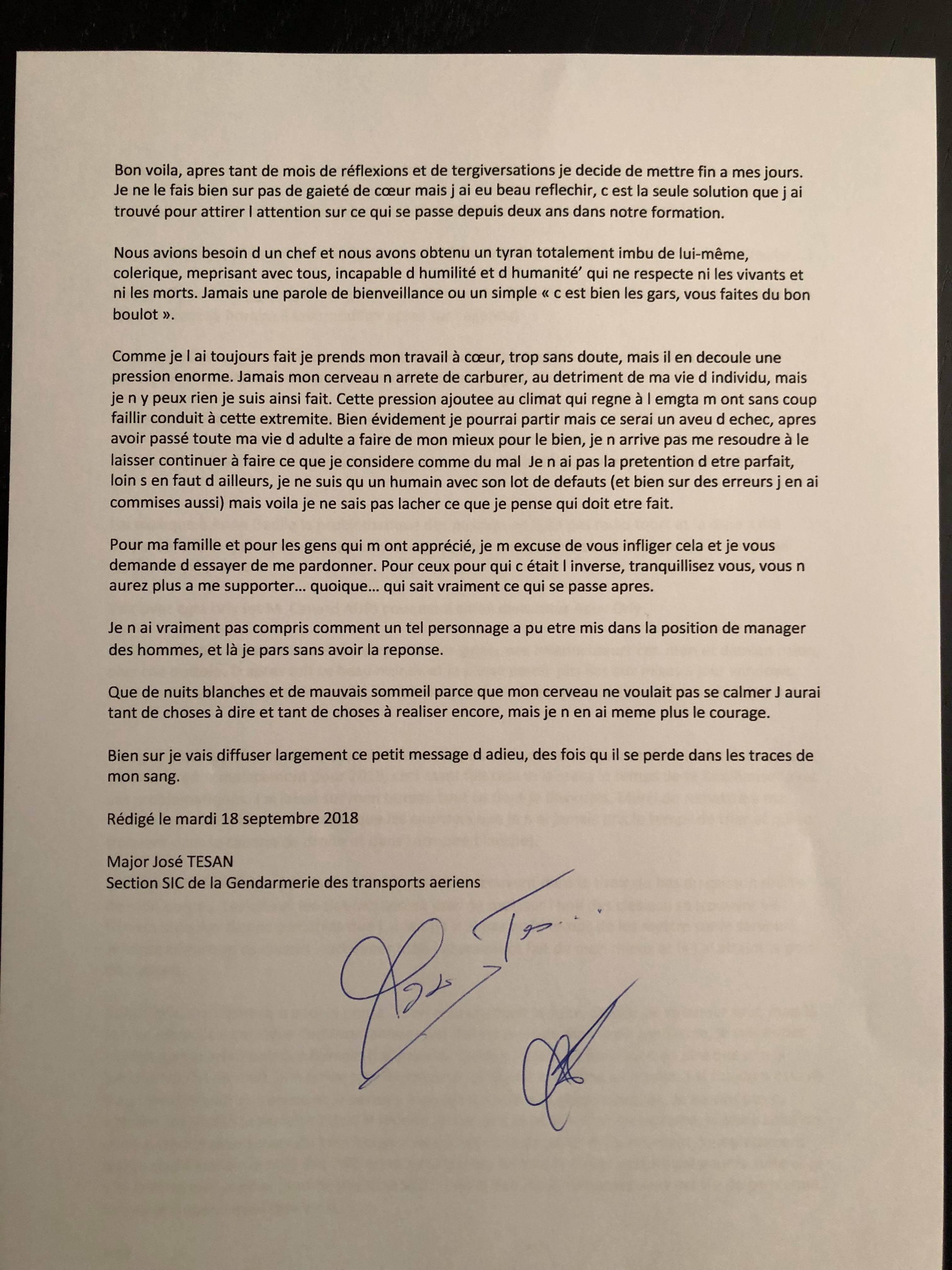 Suicide Gendarmerie : Lettre d'adieu du major José TESAN