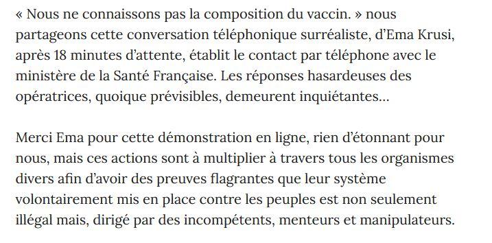 Conversation téléphonique surréaliste. d'Ema Krusi avec le ministère de la Santé, « Nous ne connaissons pas la composition du vaccin. »