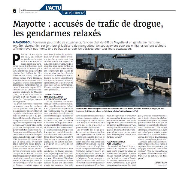 Mayotte : accusés de trafic de drogue, les gendarmes relaxés
